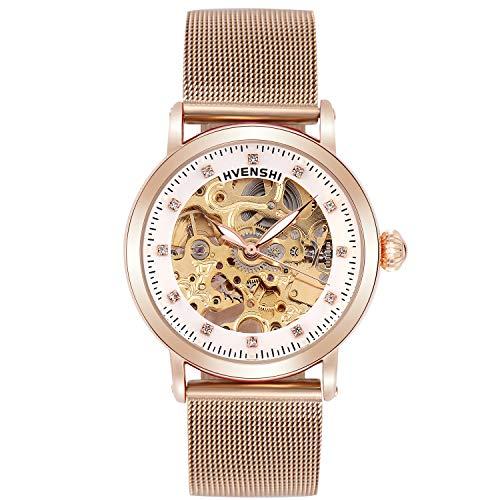 RORIOS Armbanduhren Damen Automatische Mechanische Uhren Leuchtend Skelett Zifferblatt Edelstahl Band Damenuhren