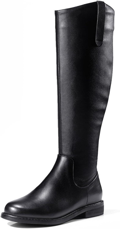 Nine Seven Genuine Leather Women's Round Toe Chunky Heel Side Zip Flat Heel Handmade Comfort Knee Boots