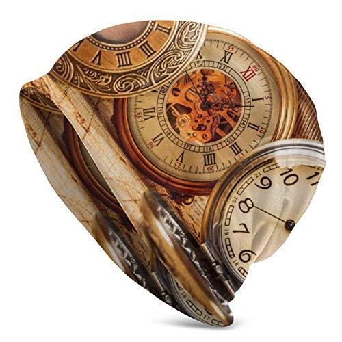BGDFN Reloj Retro Reloj de Bolsillo Gorro de Punto Gorro cálido Gorros elásticos Suaves con puños de Calavera Gorro Diario para Unisex Negro