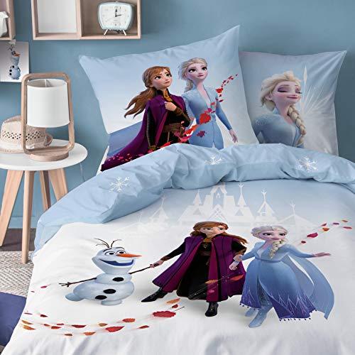 CTI Frozen 2 · Bettwäsche-Set Disney`s die Eiskönigin 135x200cm + 80x80cm · Anna, ELSA & Olaf Mädchen-Bettwäsche - 100% Baumwolle