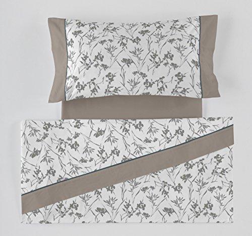 ES-Tela - Juego de sábanas Estampadas Paola Color Gris (4 Piezas) - Cama de 150 cm. - 50% Algodón/50% Poliéster - 144 Hilos