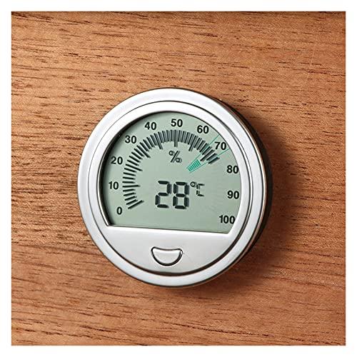 JUSTYUSHU Hygromètre de Cigare de précision pour Accessoires de fumée à cigares humides Portable détecteur d'humidité Ronde Portable Hygromètres précis (Color : Silver)
