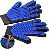 FEMW Pet Grooming Glove - Efficient Pet Hair Remover Mitts - Pet Massage Gloves - Gentle Deshedding Brush Glove - for Dog Cat Horse with Long & Short Fur [Upgrade Version][Left & Right Hand]