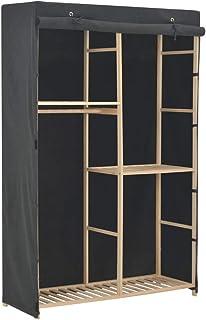 SOULONG Armoire de Rangement Garde-Robe à 3 Niveaux en Tissu et Cadre en Sapin Massif 110 x 40 x 170 cm Gris