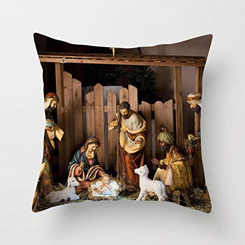 YXYLQ Nativity Cushions Case Retro Oil Painting Christmas Pillowcase Jesus Christ Print Throw Pillows Case Sofa Chair Room Decor-Drd366-6_45X45Cm-Pillow_Cover
