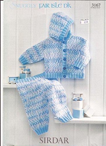 Sirdar Fair Isle DK Knitting Pattern 3167 Baby Toddler Hooded Jacket amp Trousers NB2yrs