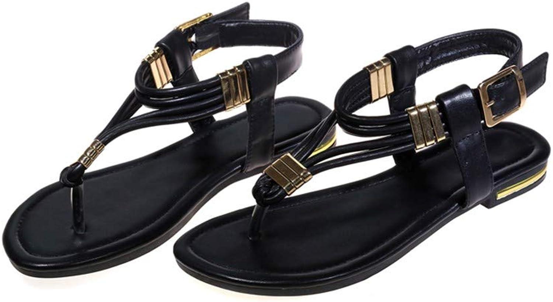 QIMITE Flip-Flop Schuhe Flache Sandalen Sommer aus echtem Leder Hochwertige Frauen Sandalen Mode klassisch Elegante Bequeme Schuhe Frau Schwarz