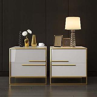 Table de Chevet Lot de 2, Table d'Appoint Minimaliste Moderne avec 2 Bois Massif Tiroirs/Armature en métal/Poignée en méta...