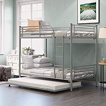 AINN Twin Over Twin Metal Pipe Bunk Bed with Trundle Heavy Duty Metal Bunk Bed Frame for Kids Bedroom Livingroom  Twin with Trundle Silver