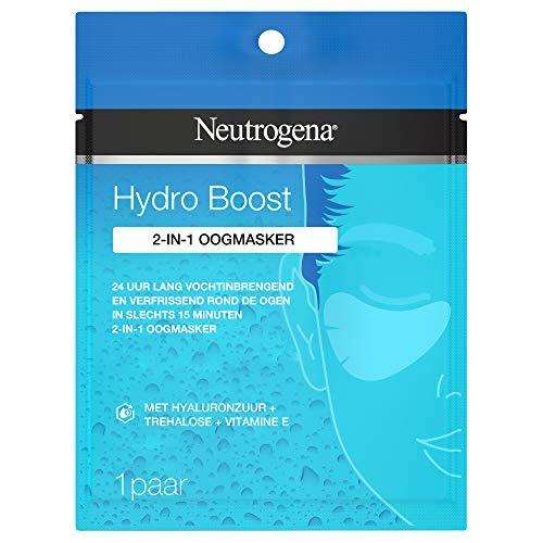 Neutrogena Hydro Boost 2-in-1 Hydrogel Tuch Augenmaske, Parfümfrei, Gegen Müdigkeit und Schwellungen, 24h Feuchtigkeit, 5 g