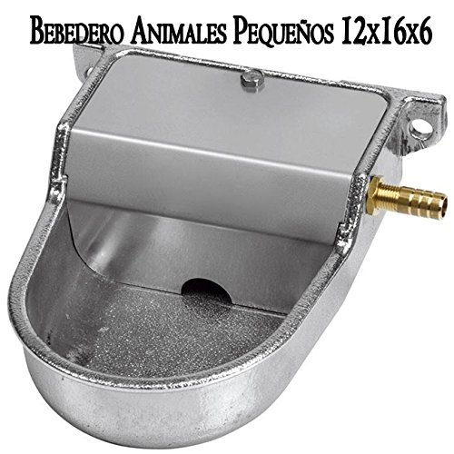 Kinderdrinkfles van aluminium voor kleine honden. Kan bij lage druk of waterreservoir worden gebruikt. Dranken dieren grijs met de afmetingen 12 x 16 x 6 cm.