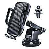 Loncaster Car Phone Holder, Universal Car Phone Mount for Dashboard Windshield Air Vent, Hands Free Long Arm Suction Cup Phone Mount for Car Compatible with iPhone, Samsung, Android Smartphones