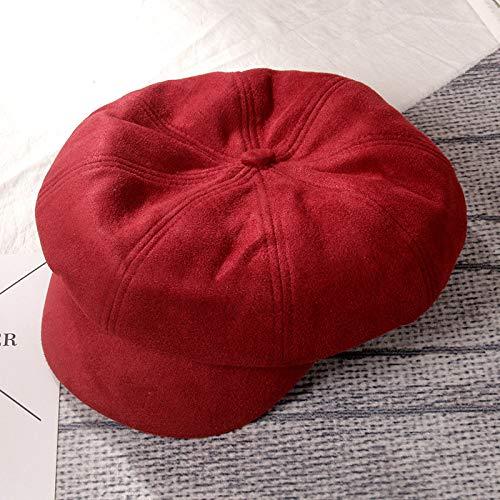 mlpnko Bailey Hut achteckigen Hut weibliche lässige Wilde Farbe Maler Hut Wildleder Vintage britischen Weinrot Code