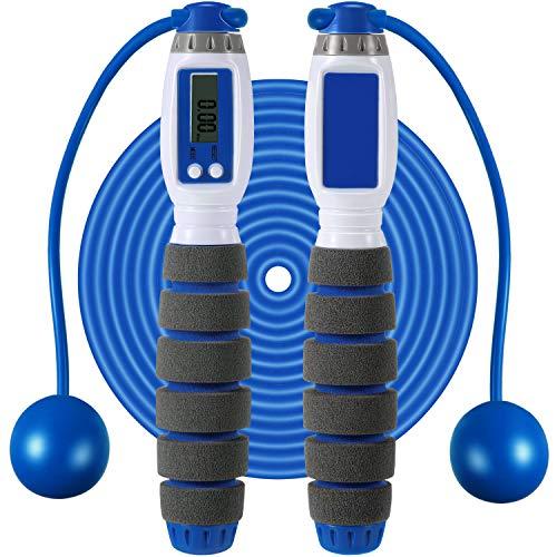 Digitales Zähl Springseil Einstellbares Fitness Springseil Schnurloses Springseil mit Intelligenter Elektronischer Kalorien Zähler für Frauen Kinder Erwachsene Indoor Outdoor Sport Übung (Blau)