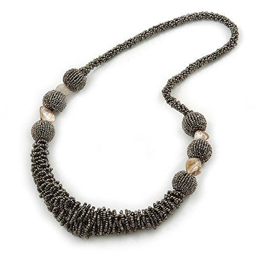 Chunky-Collana in perline di vetro, colore: grigio metallizzato L 70 cm