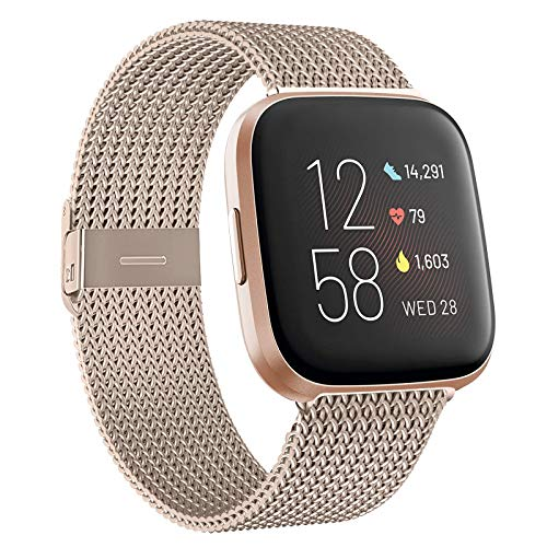 HAPAW Bands Compatible with Fitbit Versa / Versa 2, Women Men Metal Stainless Steel Replacement Sport Bracelet Strap Wristbands Accessories Small Large with Magnet Lock for Versa Smartwatch
