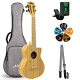 AKLOT Ukulele tenore in bambù, ukulele 26 pollici cutaway 18:1 tasti, accordatore avanzat...