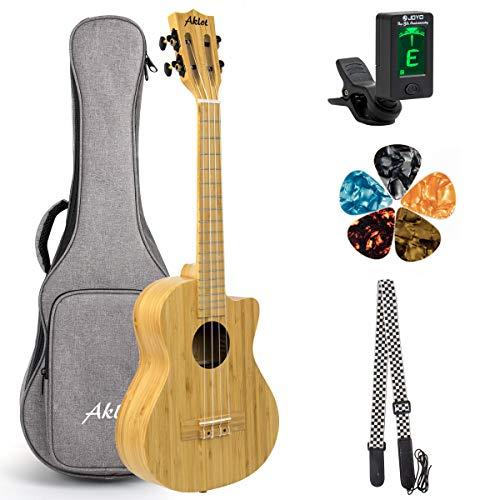 AKLOT Ukulele tenore in bambù, ukulele 26 pollici cutaway 18:1 tasti, accordatore avanzato per professionisti con plettri per tracolla
