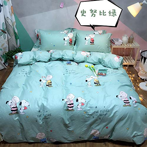 PGYZ Bettwäsche-Baumwoll-Twill-Cartoon-Muster Mit Reißverschluss Kissenbezug Bettbezug 4-Teiliges Set Snoopy Grün Bettbezug 160X210Cm