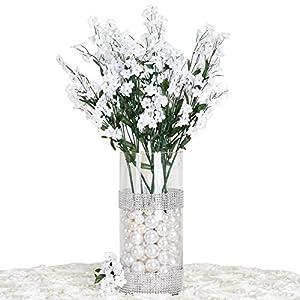 Silk Flower Arrangements Efavormart 12 Bushes Baby Breath Artificial Filler Flowers for DIY Wedding Bouquets Centerpieces Party Home Decoration - White