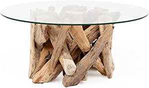 Tora (80 cm Diameter) Made of Solid Wooden Teak Root Coffee Table Glass Round
