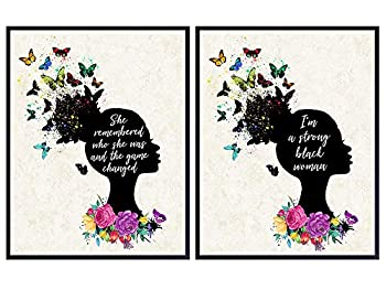 Motivational Black Wall Art for African American Women Teens - Positive Inspirational Encouragement Quotes Wall Art - Daughter Gifts Set - Home Decor Posters for Girls Bedroom Living Room Bathroom