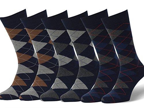 Easton Marlowe 6 Paar Fein Gemusterte Argyle Socken Herren - 6pk 2-10, dunkle Marine Blau - 39-42 EU Schuhgröße