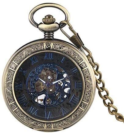 YYhkeby Los números del Reloj de Bolsillo mecánico de la Creatividad de la Vendimia Hombres visualización Azul Transparente Regalo Pendiente del Reloj de Bolsillo for el Reloj de Las Mujeres Jialele