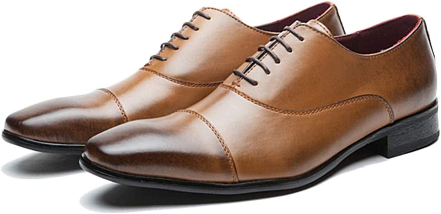 Men's Formal Dress shoes Genuine Leather Lace-ups Classic Style Closed toe shoes Harold Derby for Work Utility Footwear