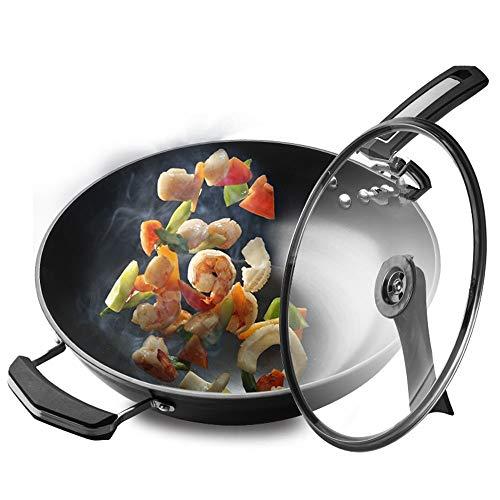Sartén de hierro fundido sartén antiadherente sartén hierro fundido wok espesado sartén no recubierto sartén de hierro cocina olla universal