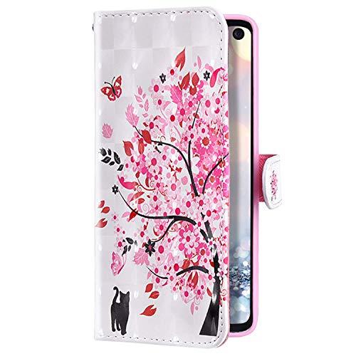 Uposao Kompatibel mit Huawei Mate 30 Hülle Glitzer Bling Glänzend Bunt Leder Handyhülle Brieftasche Wallet Case Flip Schutzhülle Tasche Klapphülle Magnetisch Kartenfach,Katze Kirsche