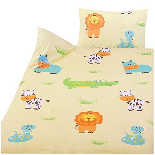 Julido Kinder Baby Bettwäsche 100% Baumwolle 100x135+40x60cm Zootiere des. 42323-3