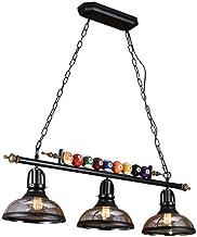 Ceiling Lighting, Adjustable Pool Table Light, 3-Light Billiard Pendant Light with Billiards Ball and Black Metal Support ...