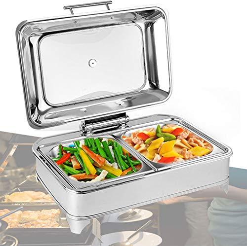 DBMGB Chafing Dish Chauffe-Plat en Acier Inoxydable 9L Buffets Chauffants Carré Electrique avec Couvercle en Verre Visible Idéal pour Un Mariage ou Une Fête au Buffet, 400W/220V