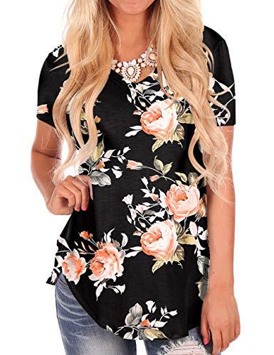 Women's Loose Fit Blouses Black Summer Tops Floral Print T-Shirt V Neck Tees 2XL