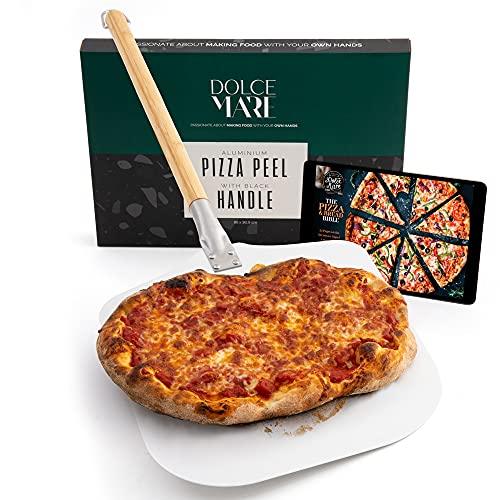 Dolce Mare Pala per Pizza in Alluminio con Manico Robusto in bambù per Un Comodo maneggio - Pala progettata appositamente per la Base della Pizza