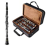 EASTROCK Clarinet Bb Flat 17 Nickel Keys Clarinet with 2 Barrels,Case,Stand,Carekit and More