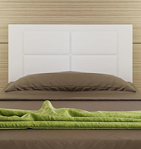 Hogar24-Cabecero Cama tapizado 105 x 55 x 3,0 cm, válido para Cama 80, 90, y 105 cm (Blanco)