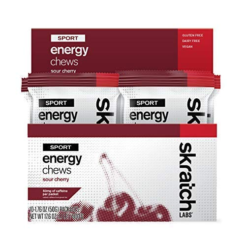 SKRATCH LABS Sport Energy Chews, Sour Cherry with Caffeine (10 Pack) - Natural, Developed for Athletes and Sports Performance, Gluten Free, Dairy Free, Vegan