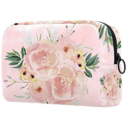Bolsa de Maquillaje Grande con Cremallera, Organizador de cosméticos de Viaje para Mujeres y niñas - Rosas Silvestres en edredones de Color Rosa Concha