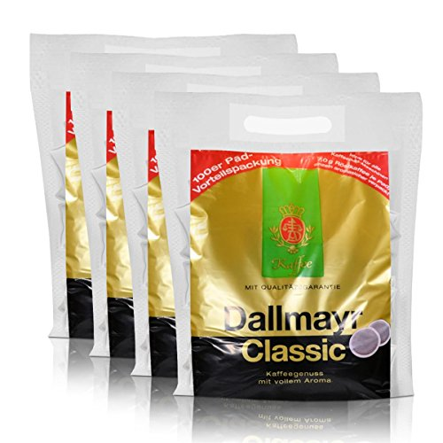 4x Dallmayr Kaffeepads Megabeutel Classic, 100 Pads, kräftig und würzig einzeln verpackt