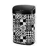 Poubelle de cuisine automatique 58L MAJESTIC Carreau de ciment Noir en acier INOX avec cerclage