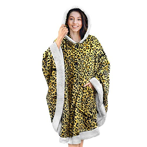 Foerteng-us Autumn and Winter Hooded Cloak, Plush Cloak, Leopard Print, Double-Sided Flannel, Double Pocket Design, Soft and Comfortable
