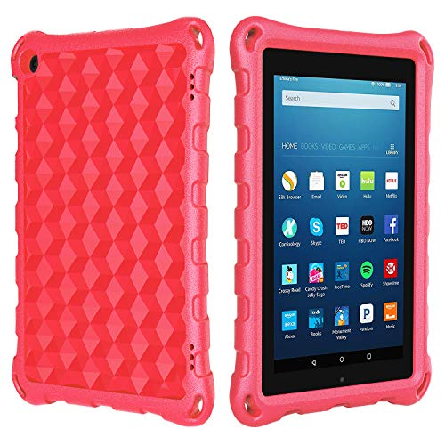 Case for Tablet 7 inch, Ubearkk Cover Case for Kids, Kid Proof Light Weight Shock Proof Handle Stand Kids Case for 7 inch Tablet (5th/7th/9th Generation, Compatible with 2019&2017&2015 Release),red