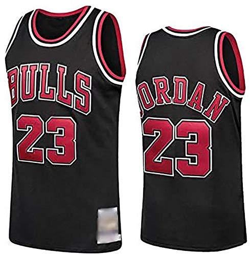 HGTRF Camiseta de Baloncesto Chicago Bulls # 23 Jordans Bordada, Transpirable, Resistente al Desgaste, Camiseta de Ventilador L Black