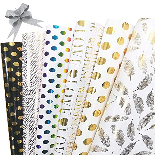 Geschenkpapier, 6 Stück Packungen Geschenkpapier mit 10 Stück Schleifen für Weihnachtsgeburtstag Hochzeiten Abschlussfeiern, LOVE, Blätter, Punkt, Streifen, 50CM X 70CM