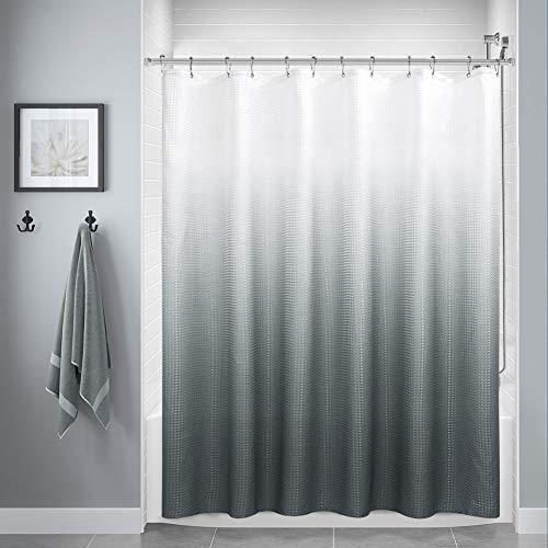 Cortinas de ducha gris para baño, cortinas de ducha de poliéster degradado para baño, forro de cortina de ducha impermeable con 12 ganchos, lavable a máquina (72 x 72 pulgadas,...