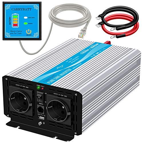 CARRYBATT Wechselrichter Reiner Sinus 1500W Spannungswandler 12V auf 230V mit 5 Meter Fernbedienung mit Dual-AC-steckdoses wechselrichter wohnmobil & 2.1A USB-Anschluss-Spitzenleistung 3000 Watt