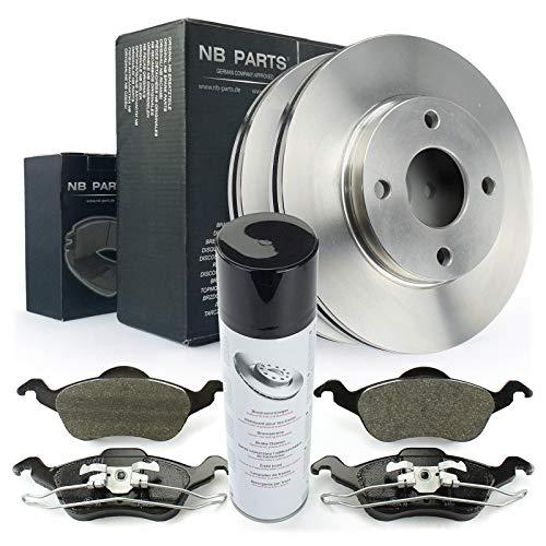 Bremsen/Bremsscheiben + Bremsbeläge vorne + Bremsenreiniger NB PARTS GERMANY 10046387