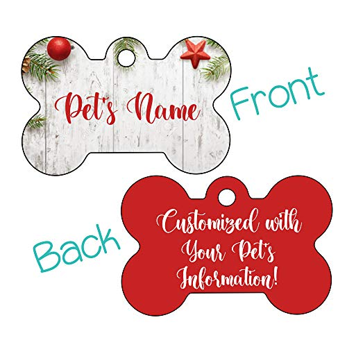 Christmas Winter Themed 2-Sided Pet Id Dog Tag | Personalized for Your pet (Rustic Wood)